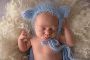 Bear bonnet baby photo